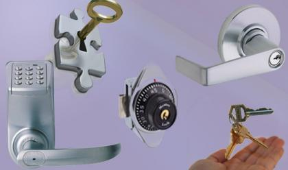 Different kinds of door locks and keys